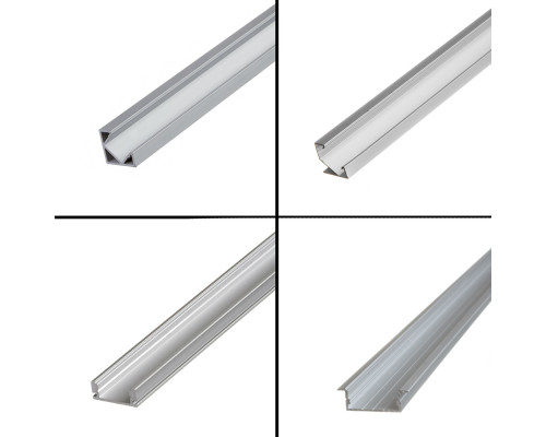 Профиль алюминиевый врезной 1m ПФ-16 полуматовый рассеиватель (комплект)