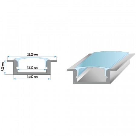 Купить Алюминиевый профиль ПФ-19 врезной 2 м