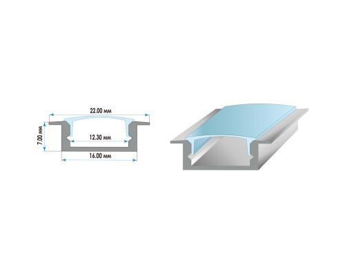 Алюминиевый профиль ПФ-19 врезной 2 м