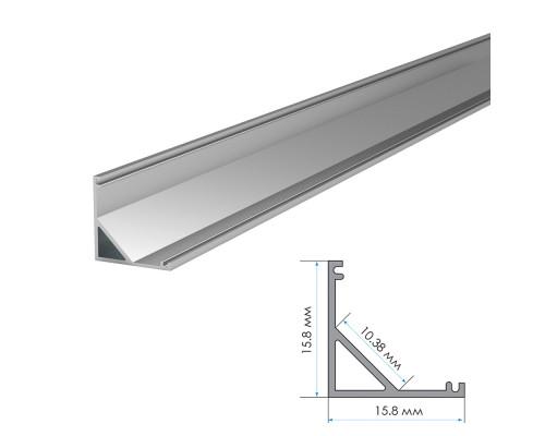 Профиль алюминиевый накладной угловой (комплект) ПФ-9 полуматовый рассеиватель 2м