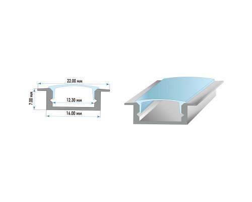 Комплект алюминиевого профиля ПФ-19 врезной рассеиватель 2 м
