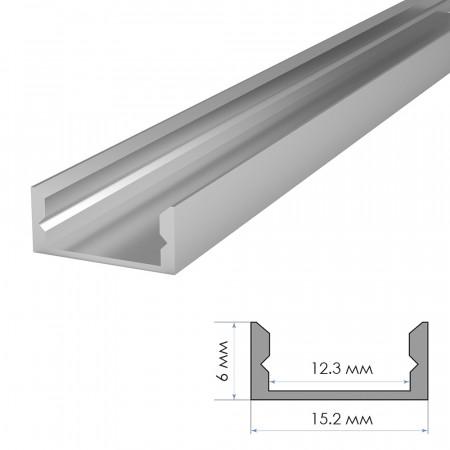 Купить Профиль алюминиевый накладной (комплект) 2м ПФ-18 без покрытия с полуматовым рассеивателем