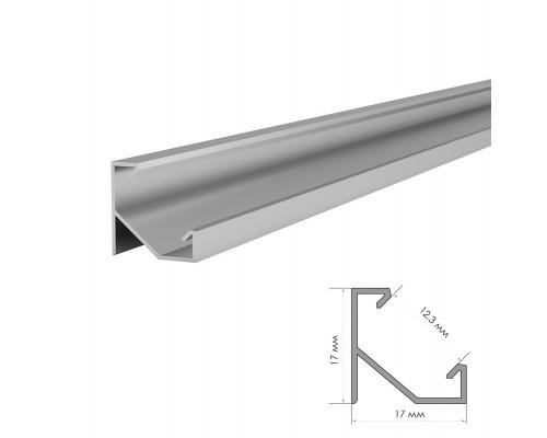 Алюминиевый профиль угловой ПФ-20/1 без покрытия с полуматовым рассеивателем (комплект) 2м