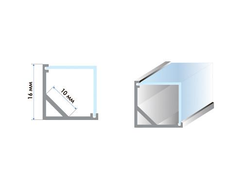 Профиль алюминиевый угловой квадратный 2m ПФ-9 +полуматовый рассеиватель