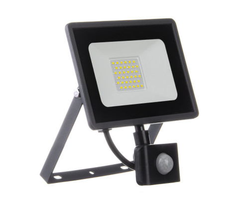 Светодиодный прожектор с датчиком движения 220в AVT 6000K 30Вт герметичный